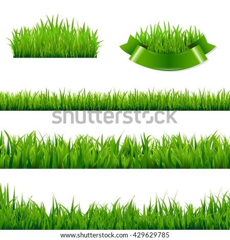 Green Grass Borders Collection, , Isolated  Background, Vector Illustration - stock vector