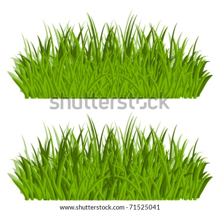 Green grass borders isolated on white background