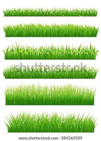 Green grass borders set on white. Vector illustration - stock vector