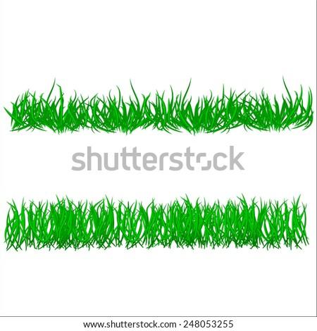 Green grass Borders set. Vector illustration.  - stock vector
