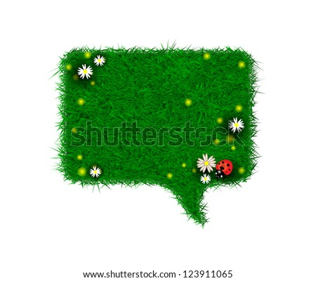 Green grass, camomiles and ladybug chat bubble box - stock vector