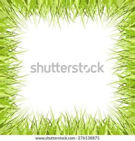 Green grass frame isolated on white. Vector illustration. - stock vector