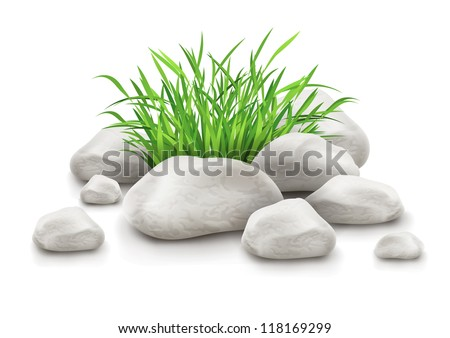 green grass in stones as landscape design element vector illustration isolated on white background EPS10. Gradient mesh used. - stock vector