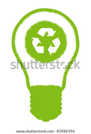 Green grass light bulb and recycle round  inside. Recycling concept vector background