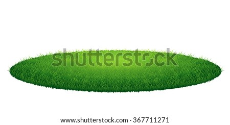Green grass round arena. Vector illustration, isolated on white background - stock vector