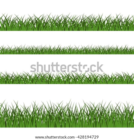 Green grass seamless pattern. Nature lush landscape background. Horizontal silhouette, isolated on white. Symbol of field, lawn, park and meadow, fresh, summer. Design element. Vector illustration - stock vector