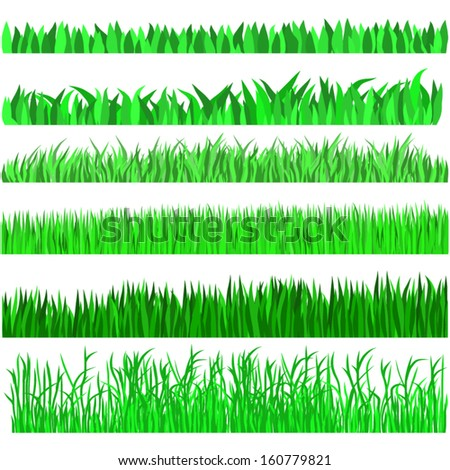 Green Grass Set,Hand drawn, Isolated On White Background, Vector Illustration