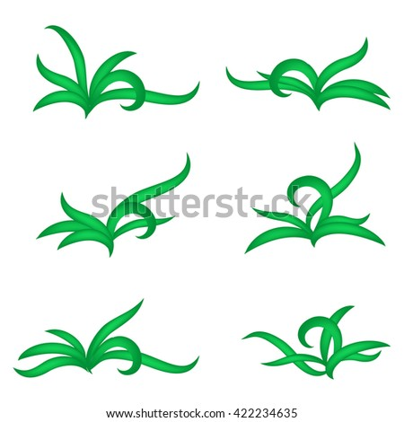 Green grass sprouts - vector  set of  icons. Nature ecology isolated collection. - stock vector