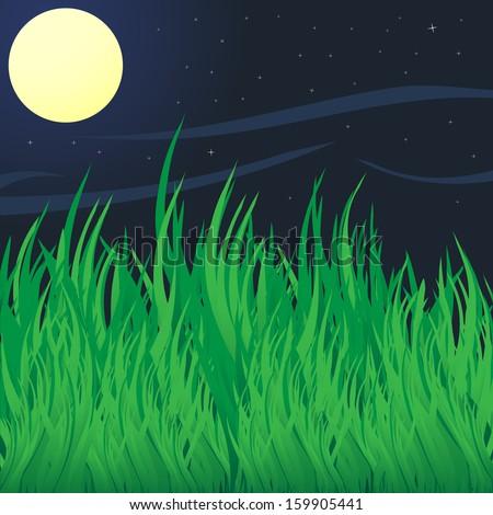 Green grass under moon. Abstract vector illustration. - stock vector
