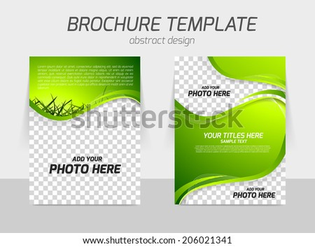 Green grass wave bright nature fresh back and front brochure design for eco template flyer - stock vector