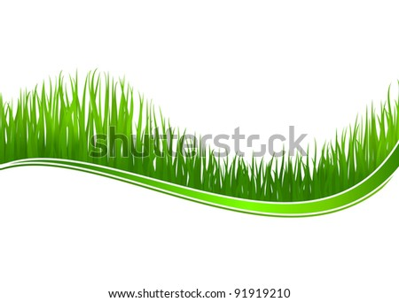 Green grass wave for spring or nature design. Jpeg version also available in gallery - stock vector