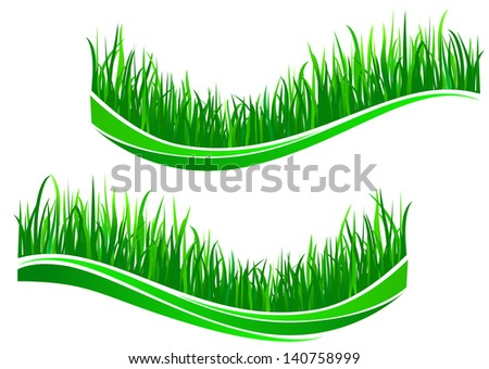 Green grass waves isolated on white background. Jpeg (bitmap) version also available in gallery - stock vector