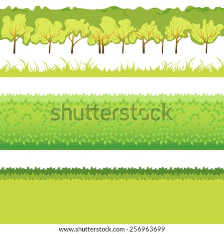 Green Grass with bushes different colors and shape-01 - stock vector