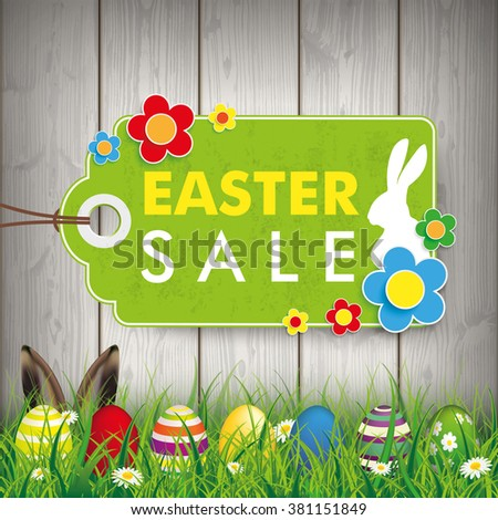 Green grass with colored easter eggs and price stickers for easter sale. Eps 10 vector file. - stock vector
