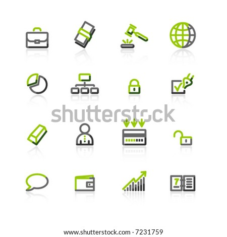 green-gray business icons - stock vector