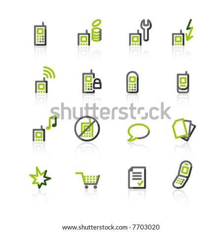 green-gray mobile phone icons - stock vector