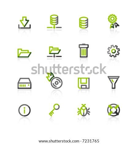 green-gray server icons - stock vector