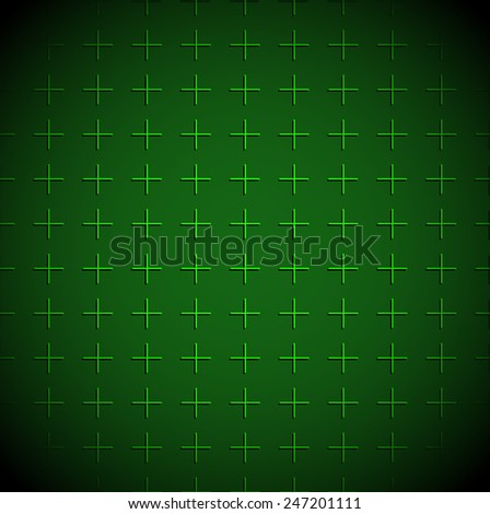 Green grid background with mesh of crosses - Green militaristic background or Empty radar screen. - stock vector
