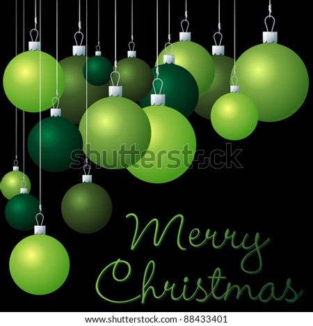 Green group of Christmas baubles in vector format. - stock vector