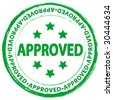Green grunge approved stamp on a white background. Vector illustration. - stock vector