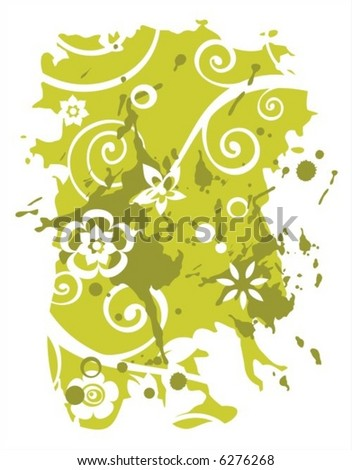 Green grunge background with decorative vegetative curls and flowers.