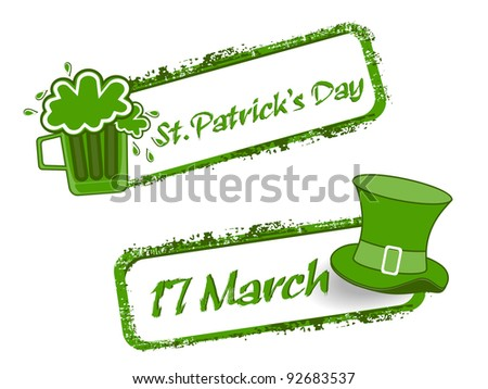 Green grunge rubber stamp with Beer mug,cap and the text St. Patrick's Day written inside, vector illustration - stock vector