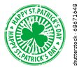 Green grunge rubber stamp with clover and the text Happy St. Patrick's Day written inside, vector illustration - stock photo