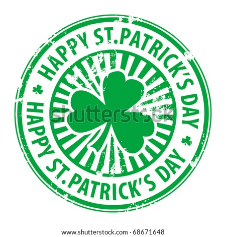 Green grunge rubber stamp with clover and the text Happy St. Patrick's Day written inside, vector illustration - stock vector