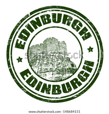 Green grunge rubber stamp with the name of Edinburgh, the capital city of Scotland written inside