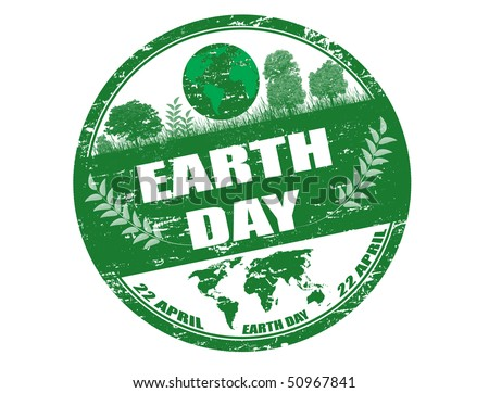 Green grunge rubber stamp with the text earth day written inside the stamp  - check for more - stock vector