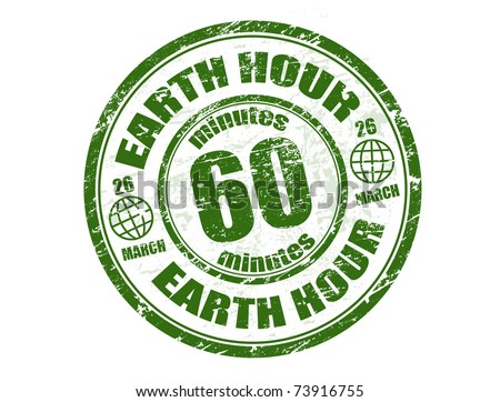 Green grunge rubber stamp with the text earth hour written inside the stamp - stock vector