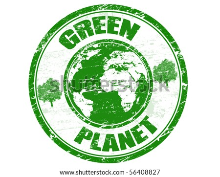 Green grunge rubber stamp with the text green planet written inside - stock vector