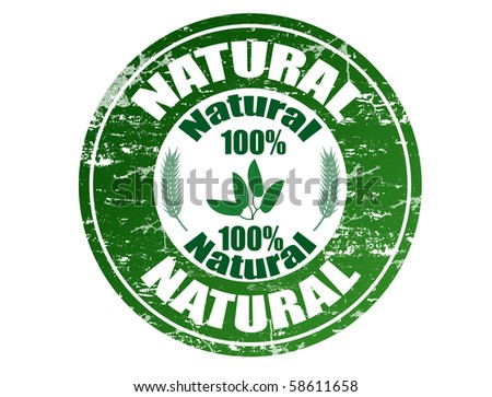 Green grunge rubber stamp with the text natural 100% written inside the stamp