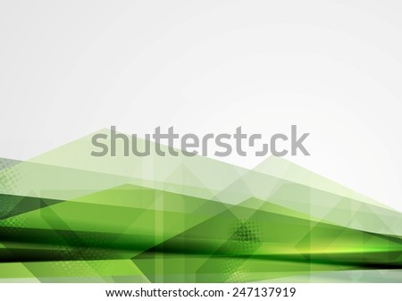 Green grunge tech shapes abstract background. Vector design - stock vector