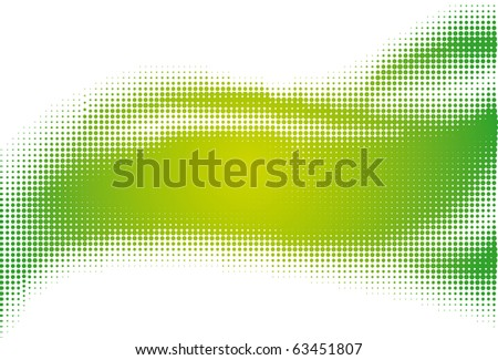 Green halftone background on the white - stock vector