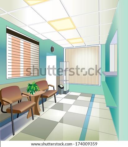 green hall of hospital (vector illustration) - stock vector
