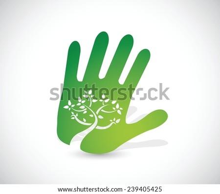 green handprint illustration design over a white background - stock vector