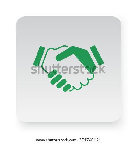 Green Handshake Agreement icon on white app button - stock vector