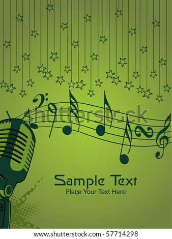 green hanging star background with grungy mike, musical notes - stock vector
