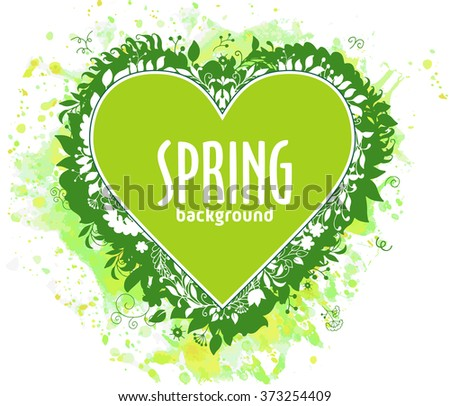 Green heart with text and floral composition on watercolor backdrop. Fresh stylish design for banners, greeting cards, advertisement, sales - stock vector