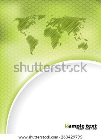 Green hexagon brochure design with scribbled map and green white wave - stock vector
