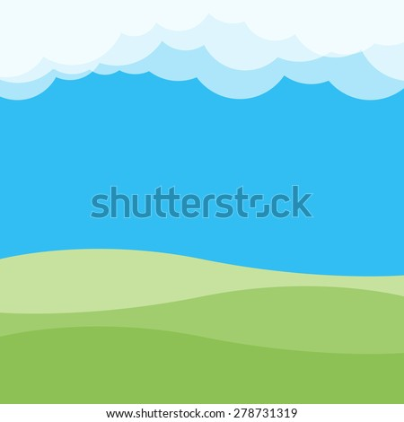 green hill and clouds landscape with blue sky background, vector illustration - stock vector