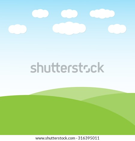Green hill landscape with clouds on blue sky background, vector illustration - stock vector