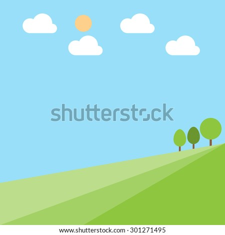 Green hill landscape with tree cloud and sun on blue sky background, vector illustration - stock vector