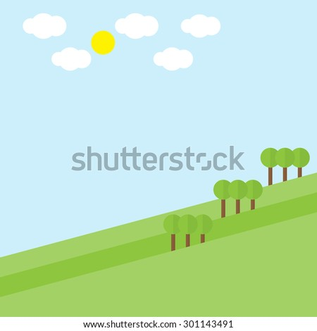 Green hill landscape with tree cloud sun on blue sky background, vector illustration - stock vector