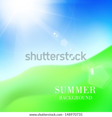 Green hill under blue sky with sun. Vector illustration. - stock vector