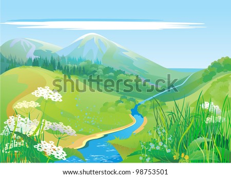 green hills and riverbank, summer - stock vector