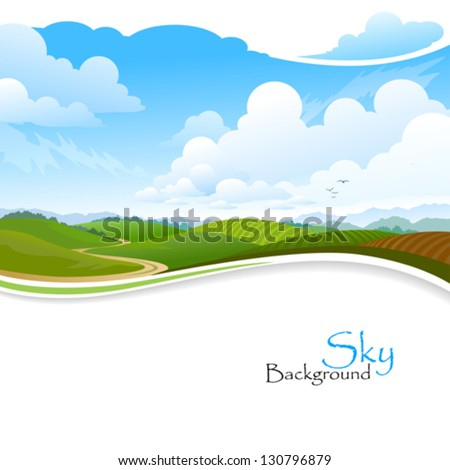 Green Hills , Blue Sky and Lonely Pathway - stock vector