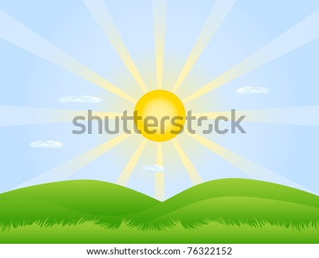 Green hills covered with grass and the rising sun - stock vector