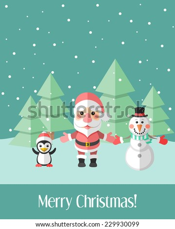 Green holiday Christmas card with winter landscape and Christmas characters - stock vector